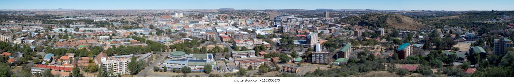 A panoramic image of Bloemfontein, the capital of the Free State, South Africa.