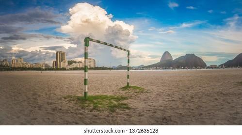 Panoramic Image of Botafogo Beach in Rio de Janeiro Overlooking Sugar Loaf Mountain