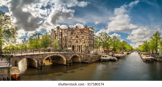 Panoramic image of the canals and bridges of Amsterdam, Netherla