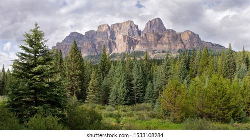 Panoramic image of Castle Mountain under cloudy sky, Bow Valley Parkway, Banff National Park, Alberta, Canada
