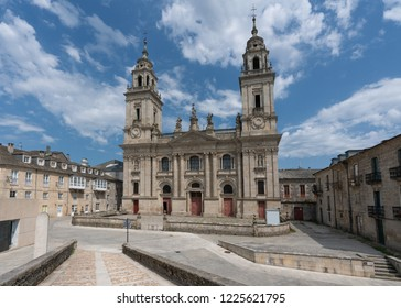 Panoramic image of the cathedral of Lugo, highlight along the Camino de Santiago, Galicia, Spain