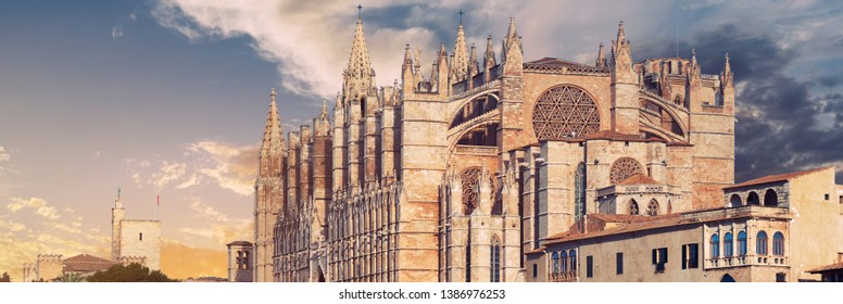 Panoramic image Cathedral of Palma de Majorca or La Seu was built on a cliff rising out of the sea. Exterior Gothic Roman Catholic church famous place. Majorca, Balearic Islands Spain