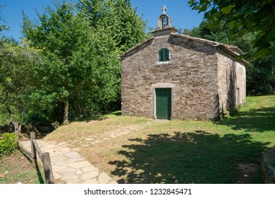 Panoramic image of the chapel of Pedrouzo, Camino de Santiago trail, Galicia, Spain