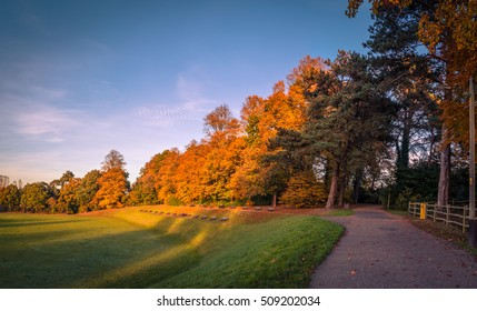 Panoramic image of Clair Park on a late day of October, in Haywards Heath, West Sussex.