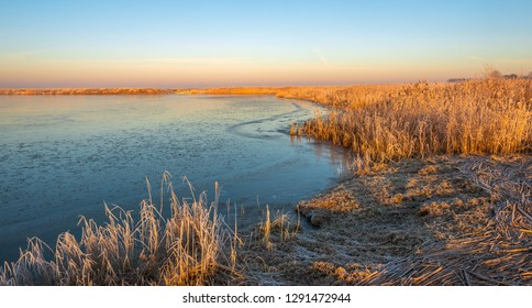 Panoramic image of Dutch National Park Biesbosch in wintertime. The photo was taken early in the morning just after sunrise.