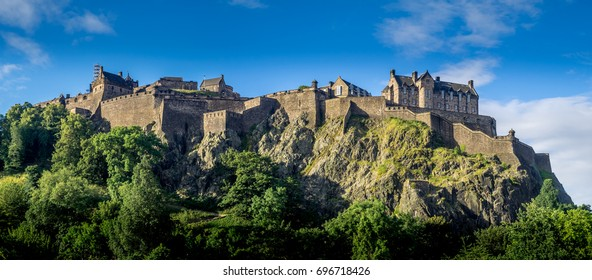 Panoramic image of Edinburgh Castle on a summer day.