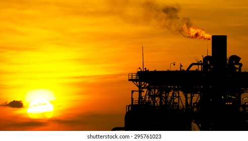 Panoramic image of a Gas or flare burn on an offshore oil-rig