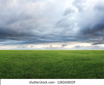 Panoramic image of green grass field and cloudy sky with copyspace