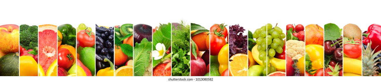 Panoramic image healthy fruits and vegetables in vertical strip isolated on white background. Copy space.