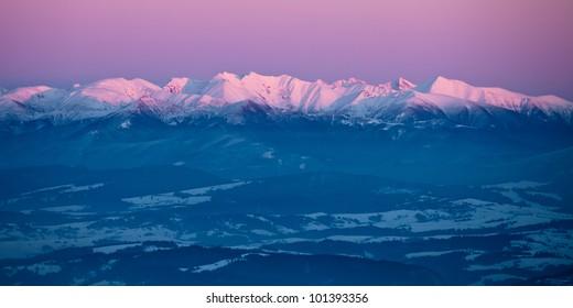 Panoramic image of High Tatras, Slovakia