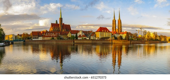 Panoramic image of the historic and representative part of Wroclaw, Poland
