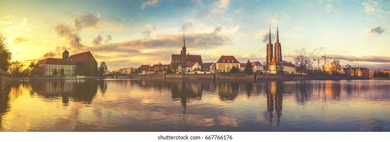 Panoramic image of the historic and representative part of Wroclaw, Poland.Vintage color tone