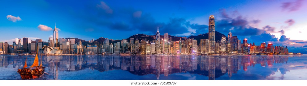 Panoramic image of Hong Kong Island at magic hour