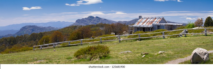 Panoramic image of the iconic Craig's Hut (as seen in the Man from Snowy River movie) in the Victorian alps, Australia