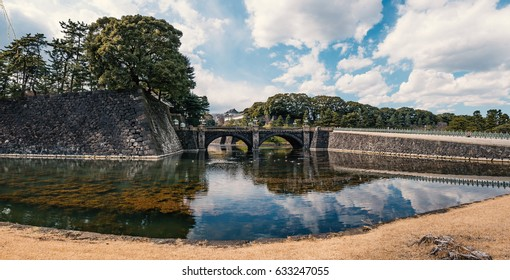 Panoramic image of the Imperial Palace in Tokyo, Japan. The Imperial Palace is where the Japanese Emperor lives nowadays.