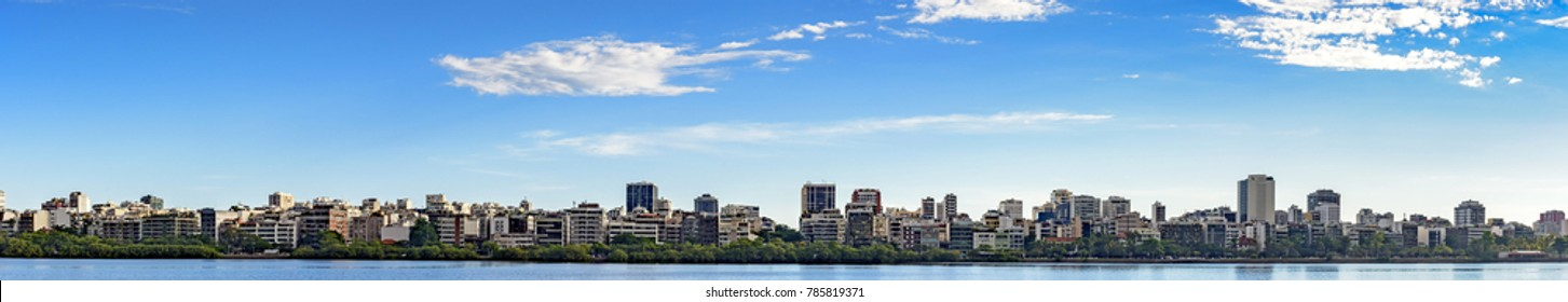Panoramic image of the Ipanema neighborhood and its buildings seen from the lagoon Rodrigo de Freitas during the afternoon