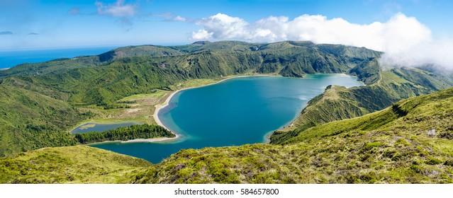 Panoramic image of Lagoa do Fogo, Sao Miguel, Azores