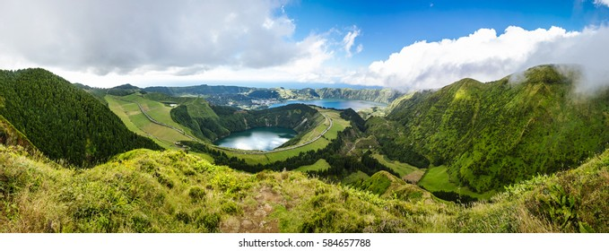 Panoramic image of the lake of Sete Cidades in Sao Miguel, Azores