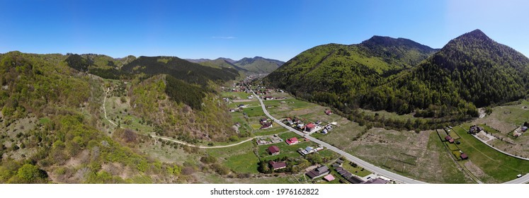 Panoramic image with lepsa village, vrancei mountains, romania