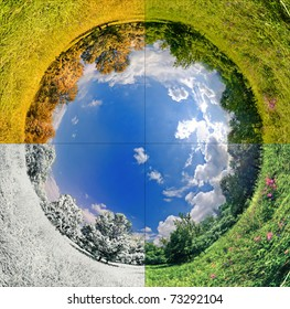 panoramic image looks like planet with seasons change. Ecology and space concept