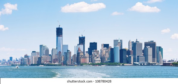 Panoramic image of lower Manhattan skyline from Staten Island Ferry boat, New York City.