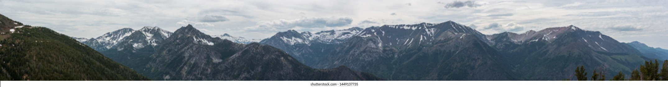 Panoramic image of the majestic Wallowa Mountains and rugged Eagle Cap Wilderness in Eastern Oregon
