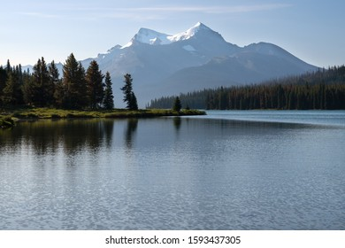 Panoramic image of the Maligne Lake close to Jasper with early morning mood, Alberta, Canada
