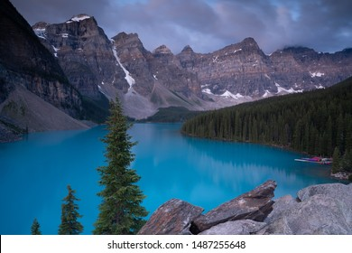 Panoramic image of the Moraine Lake at daybreak, Banff National Park, Alberta, Canada