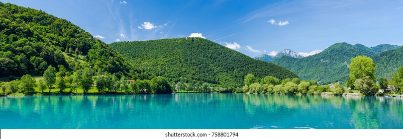 Panoramic image of Most Na Soci lake in Triglav,Slovenia.