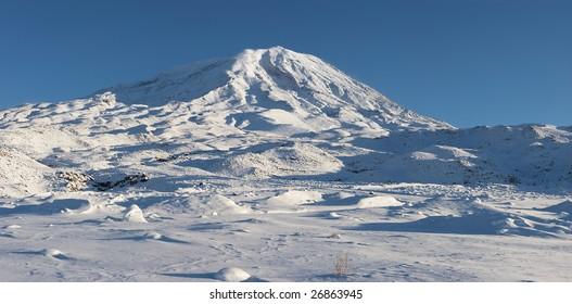 Panoramic image of Mount Ararat in winter