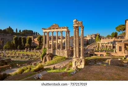Panoramic image of Roman Forum, also known as Foro di Cesare, or Forum of Caesar, in Rome, Italy, early in the morning