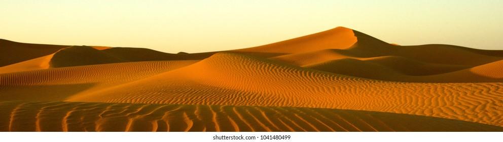 Panoramic image of Saharan Desert sand dunes taken in Morocco