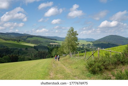 Panoramic image of the Sauerland region close to Winterberg with a small hiking trail through a green meadow, Germany
