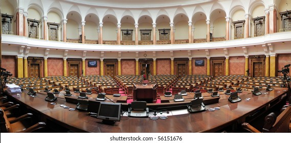 Panoramic image of Serbian parliament assembly hall