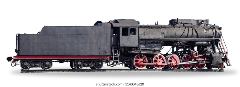 Panoramic image a side of the old black steam locomotive with five pairs of driving wheels and tender on a white background