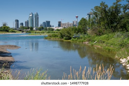 Panoramic image of the skyline of Calgary with the Bow River in the foreground, Alberta, Canada
