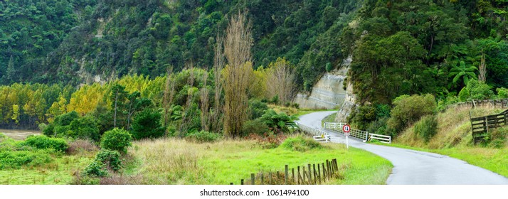 Panoramic image of Small bridge , one lane on Whanganui river road and beautiful scenery in National Park , Whanganui , North Island of New Zealand