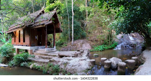 Panoramic image of Temple in the middle of the water of Wat Khantha Pruksa or Wat Mae Kampong in Mae Kampong village , Chiang Mai , Thailand