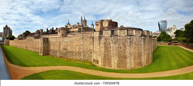 Panoramic image of Tower of London with dry moat and outer curtain wall in London, England, UK