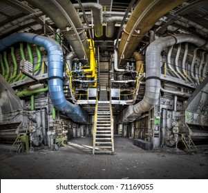 A panoramic image of a tubeline connection point at an abandoned factory