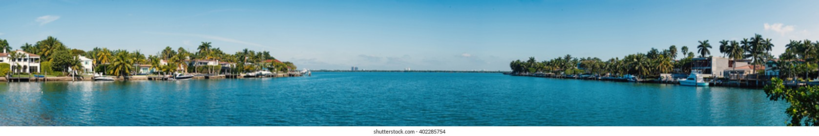 Panoramic image of Venetian Islands in Miami Beach. Florida, USA.