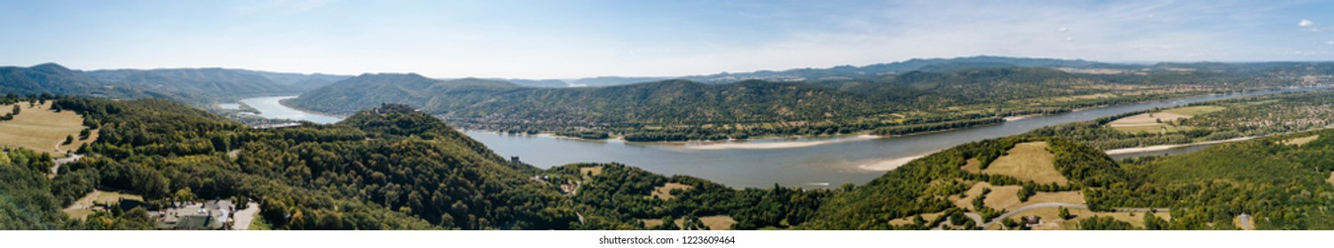 Panoramic image of Visegrad castle and the Danube, Hungary