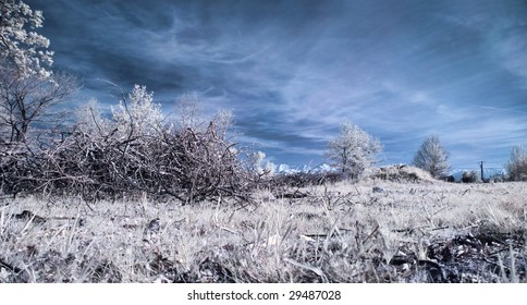 Panoramic infrared picture of a meadow with mountain in the background