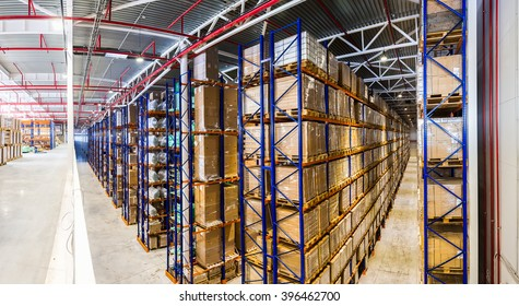 Panoramic Interior modern storehouse with some goods