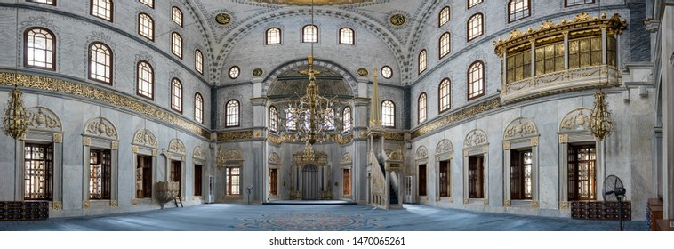 Panoramic interior view of Nusretiye Mosque which was built in 1823-1826 by Sultan Mahmut located in Tophane district of Beyoglu, Istanbul, Turkey.25 July 2019