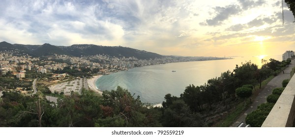 A panoramic of Jounieh Bay in Lebanon