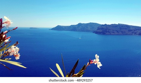 Panoramic lagoon view from Santorini island - Greece, with space for text