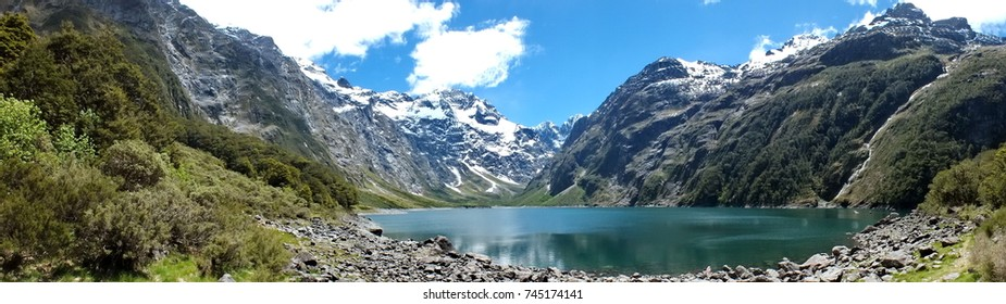 Panoramic of Lake Marian, Fiordland National Park, New Zealand.