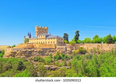 Panoramic landscape at the ancient city Segovia, Alcazar of Segovia (literally, Segovia Fortress) is a castle, located in Segovia, Spain.