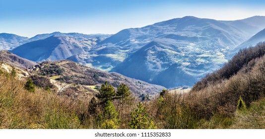 Panoramic landscape of Apennine mountains, Italy. The Apennines panorama